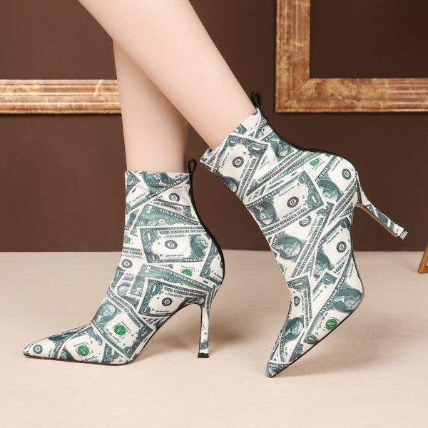 Fashion Point Toe Print High Heel Stretch Calf Boots