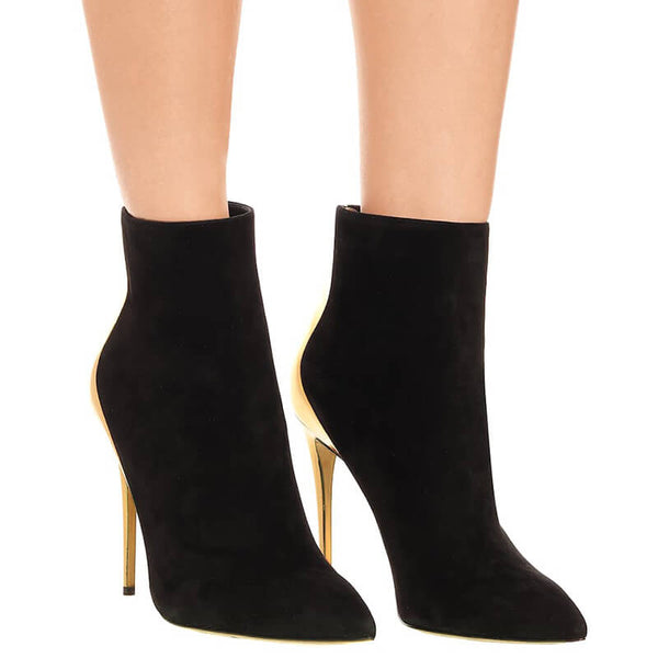 Black Point Toe Suede Patchwork High Heel Ankle Boots