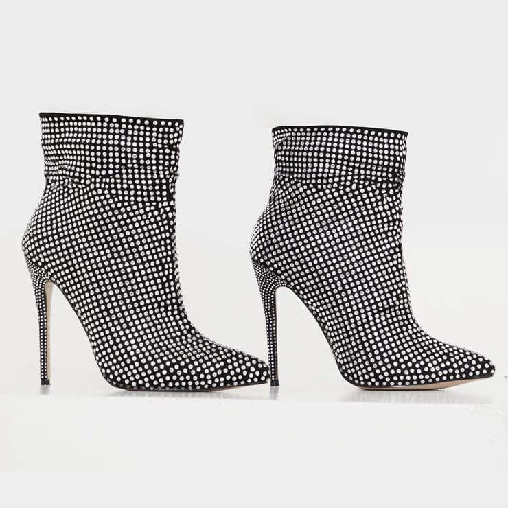 Black Rhinestone Pointed Toe Ankle Boots
