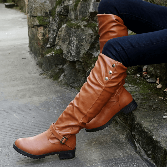 Knee High Leather Low Heel Buckle Boot