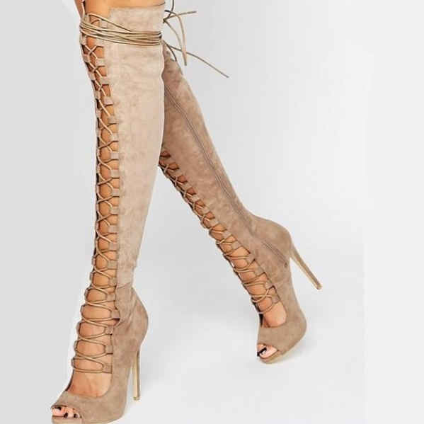 Suede Lace Up Peep Toe Knee High Sandals