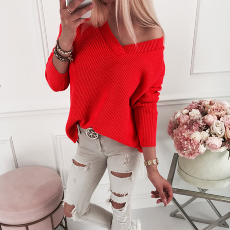 Oversized Pure Color V Neck Ribbed Knit Sweater