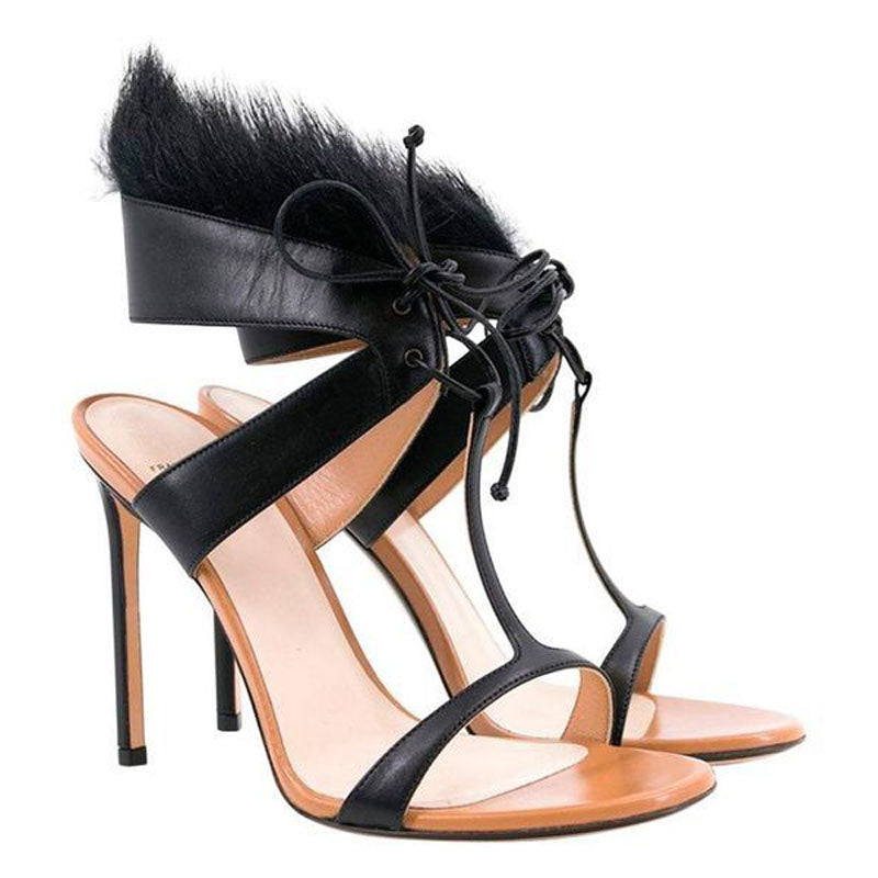 Black Fur Leather Strap High Heel Sandals