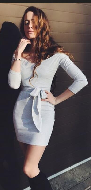 Deep V Neck Off Shoulder Wrap Short Bodycon Dress With Belt