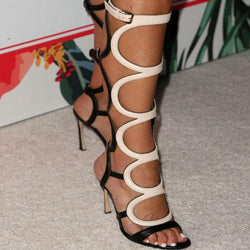 Leather Cutout High Heel Knee High Sandals