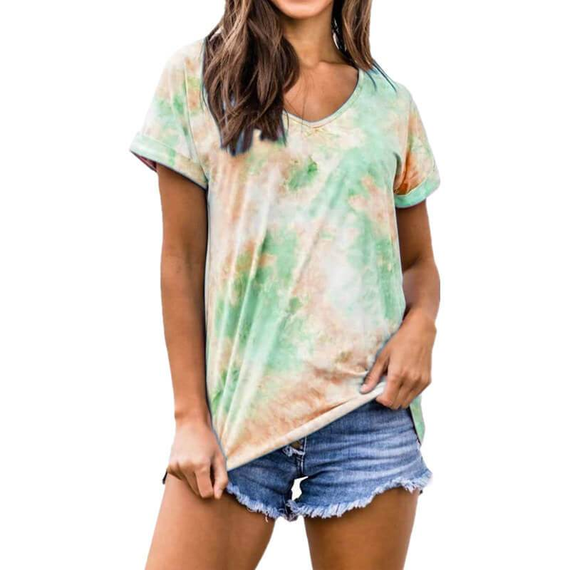 Summer Tie Dye Short Sleeve Loose V Neck T-shirts