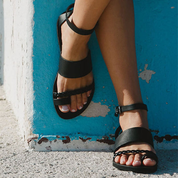 Summer Flat Leather Buckle Bunions Sandals