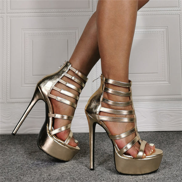 Summer Champagne PU Platform Buckle High Heel Sandals
