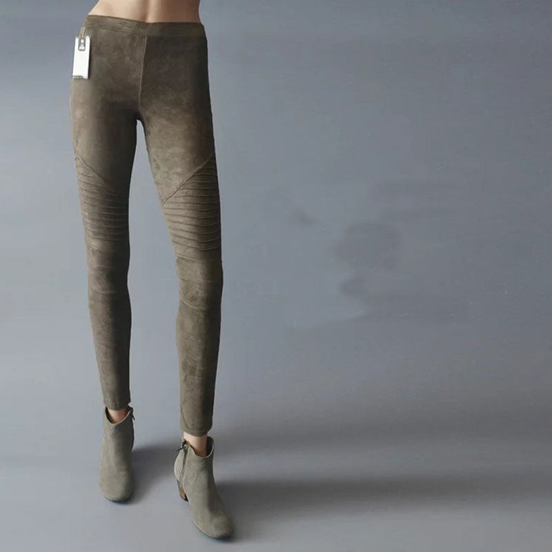 Low Waist Subtle Ruffle Elastic Pencil Pants