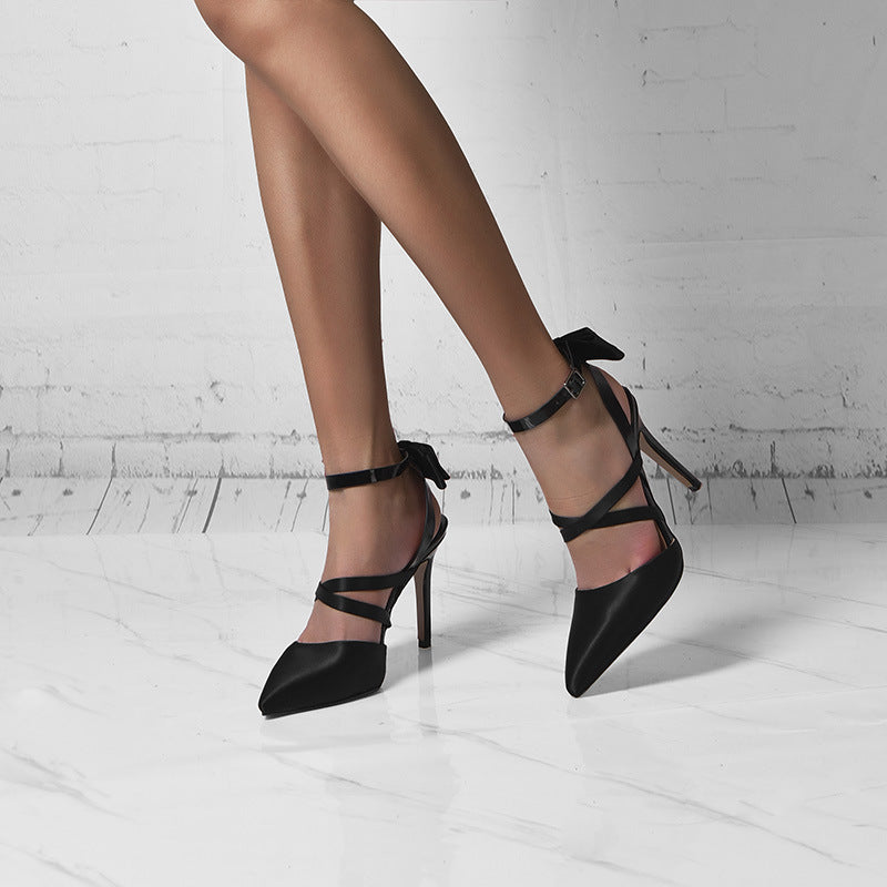Black Close Pointed Toe High Heel Sandals