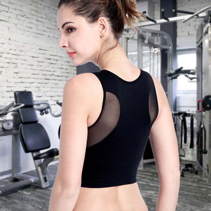 Sports Mesh Patchwork Bra Cutout Underwear Tank Tops