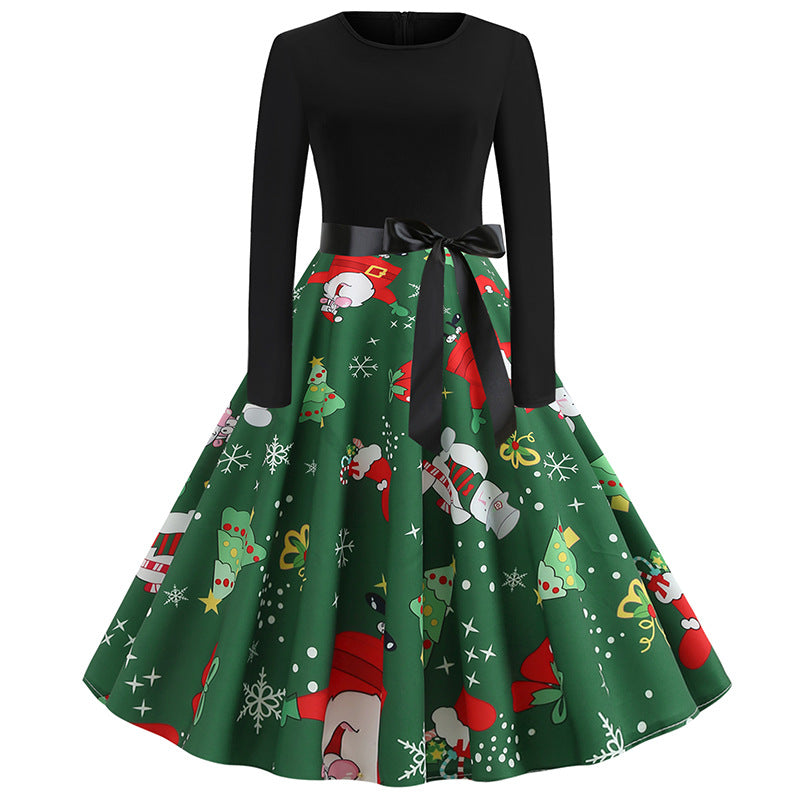 Christmas Print Green A Line Swing Dress