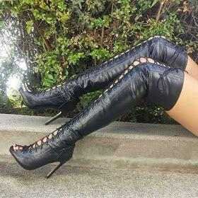 Black Peep Toe Lace Up Over knee Boots