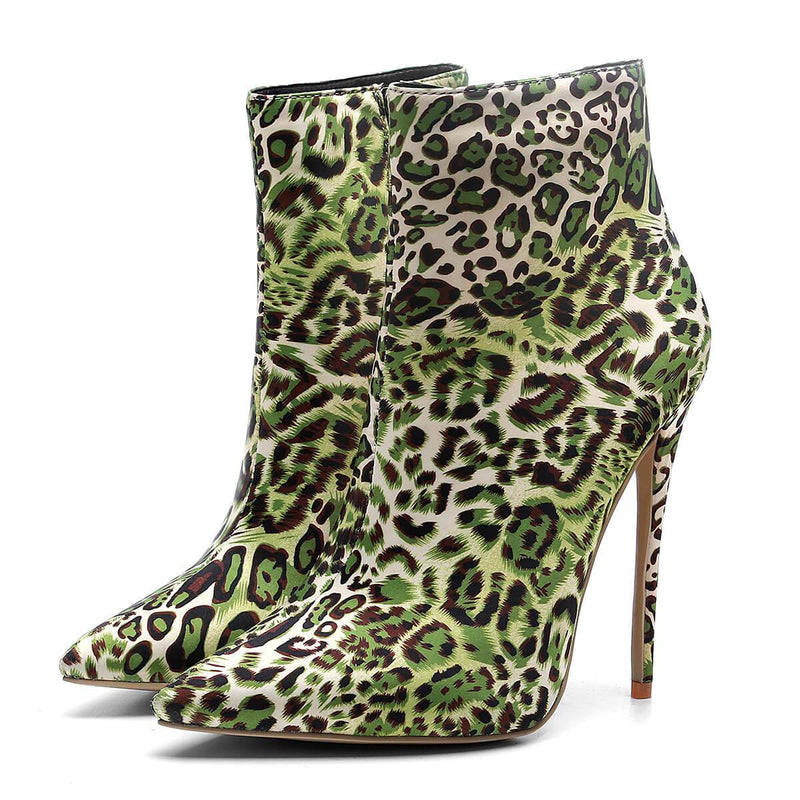 Leopard Zipper Pointed Toe High Heel Calf Boots