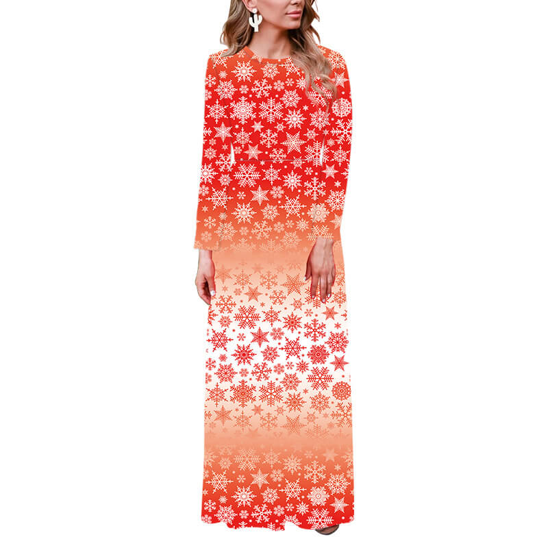 Christmas Long Sleeve Snowflakes Print Maxi Dress