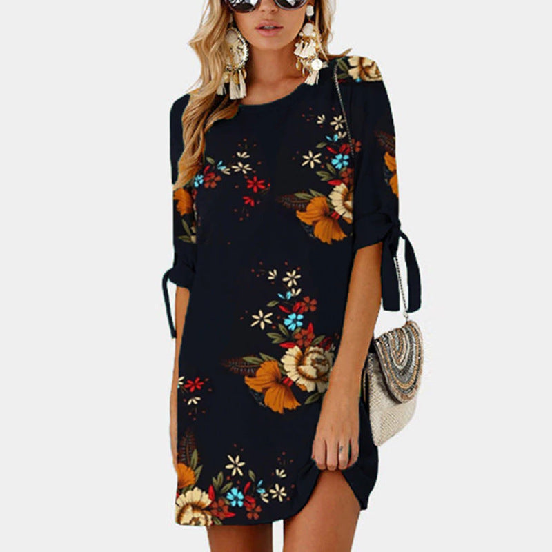 Flower Print Half Sleeves Women Loose Short Dress