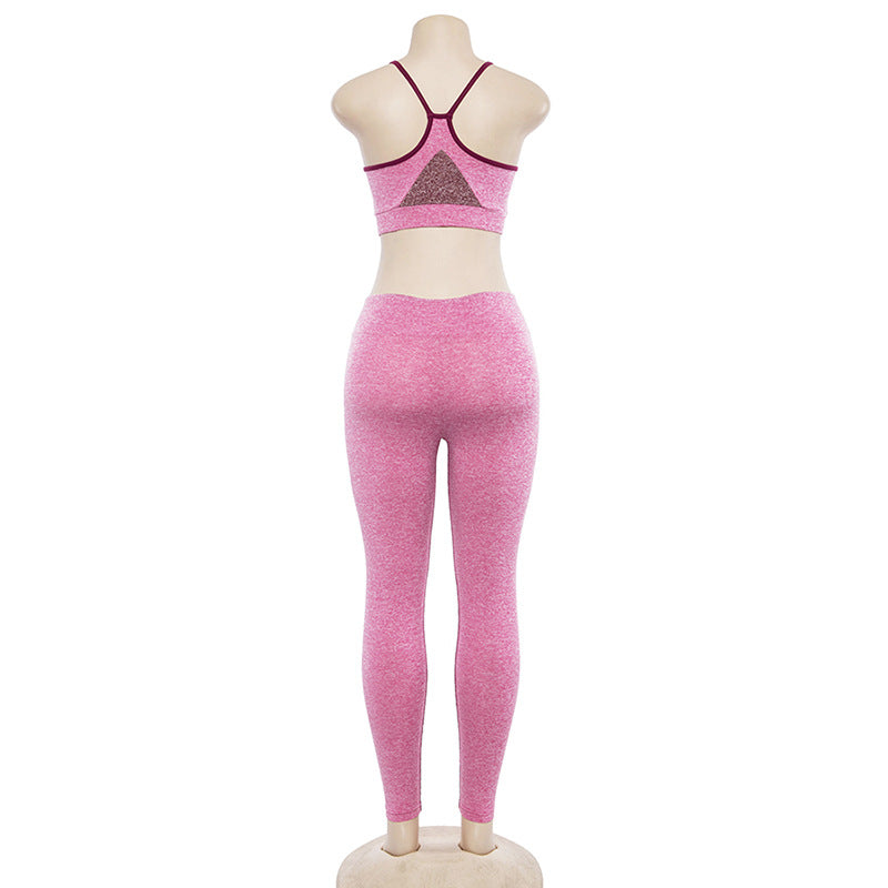 Solid Color Crop Top with High Waist Leggings Women Two Pieces Summer Yoga Sports Set