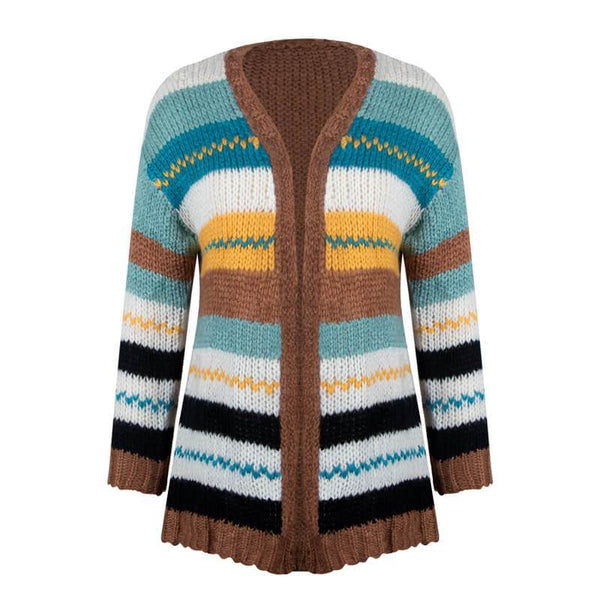 Open Front Colorblock Striped Knit Cardigan