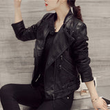 Black Oblique Zipper Slim Stand Collar Crop Jacket - May Your Fashion - 2