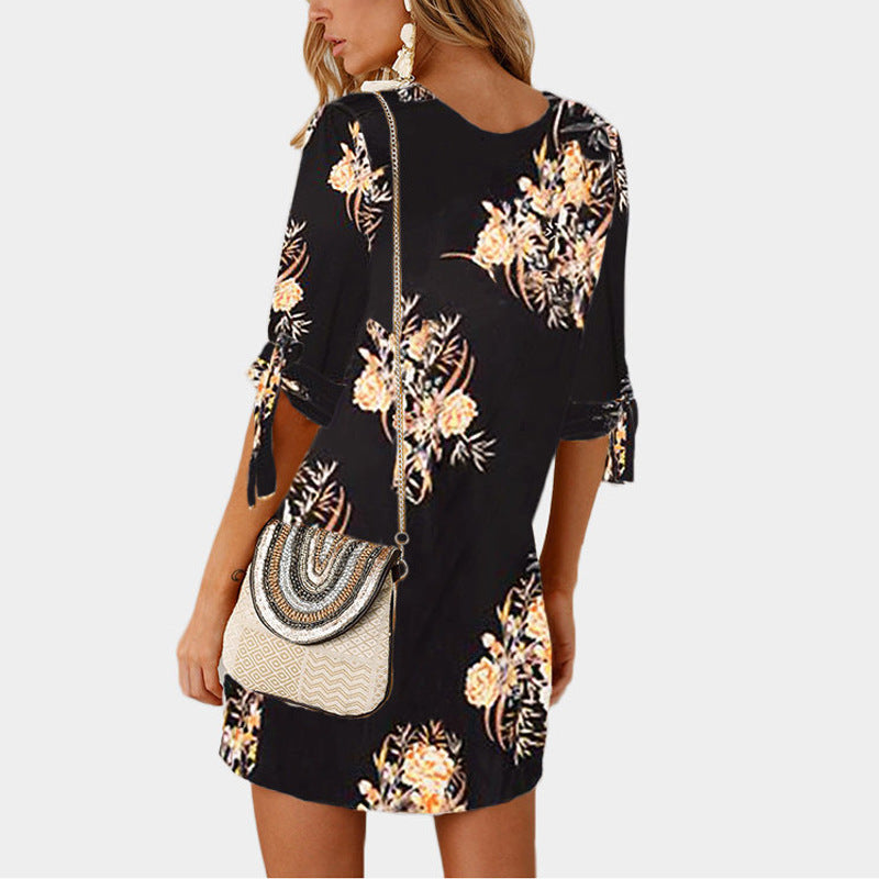 Scoop Flower Print Half Sleeves Women Loose Short Dress