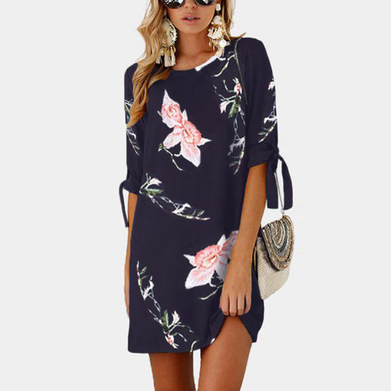 Loose Flower Print Half Sleeves Women Short Dress