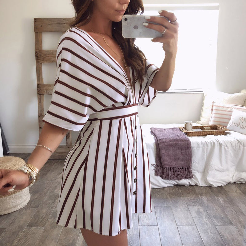 Deep V-neck Open Back Straps Stripe Half Sleeves Women Short Dress