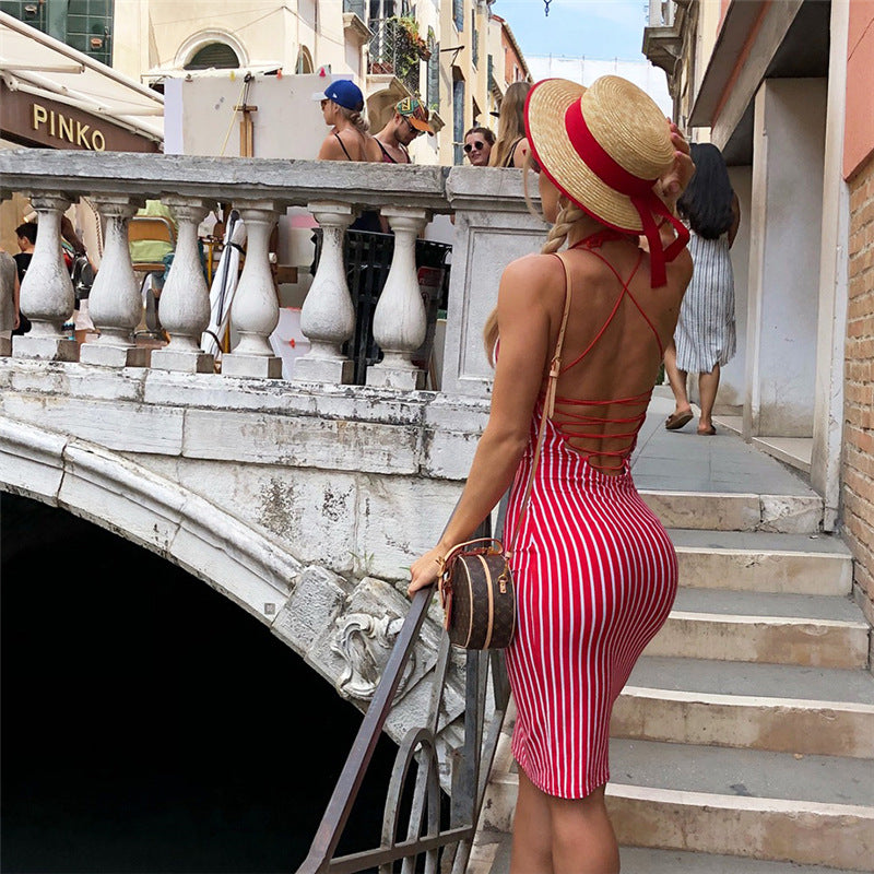 Backless Straps Halter Women Knee-length Red Stripe Dress
