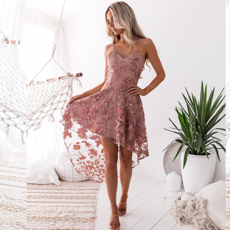 Spaghetti Straps Solid Color Women Pink Lace Irregular Dress
