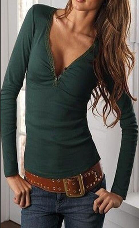 Deep V-neck Long Sleeves Pure Color Slim T-shirt