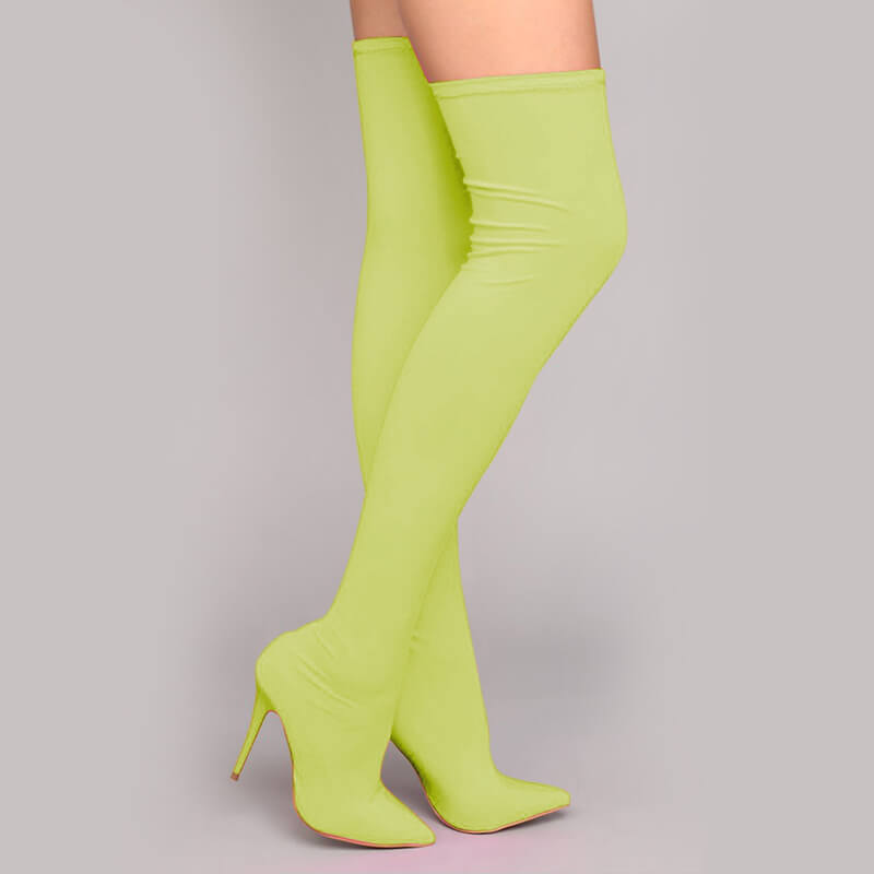 High Heel Candy Color Over Knee Boots