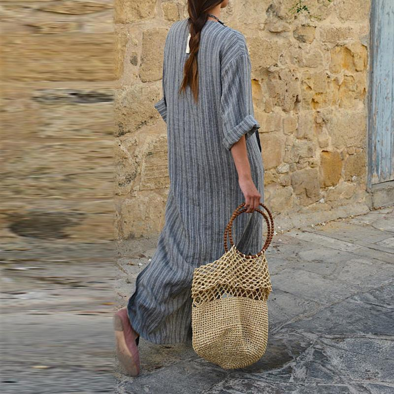 Retro Stripes Split Long Sleeves Women Loose Long Dress