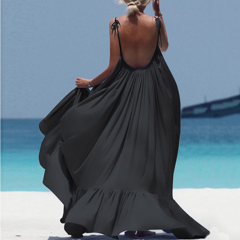 Backless Scoop Long Pleated Women Solid Color Long Beach Dress