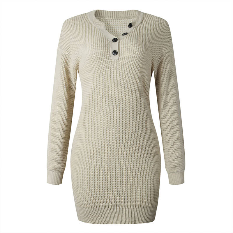 Soild Crochet Sweater Dress