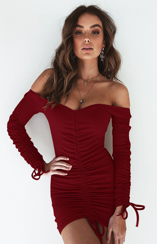 Off the Shoulder Solid Color Women Bodycon Short Dress