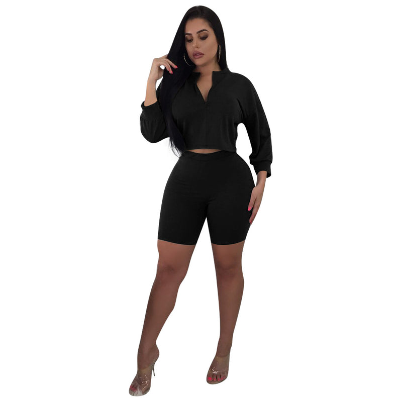 Pure Color Zipper Crop Top with Shorts Women Two Pieces Set