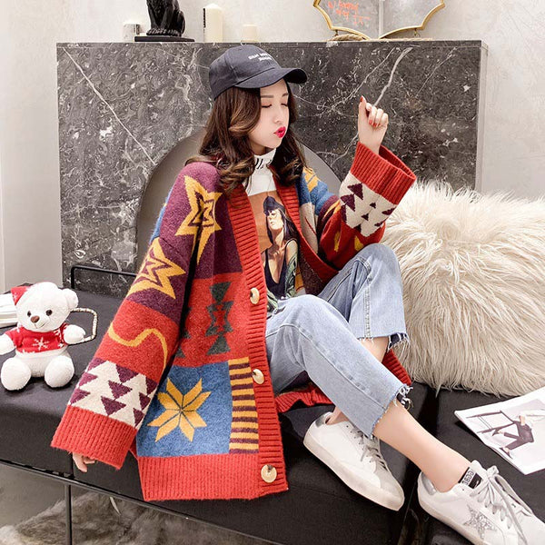 Button-Up Colorblock Christmas Sweater Cardigan