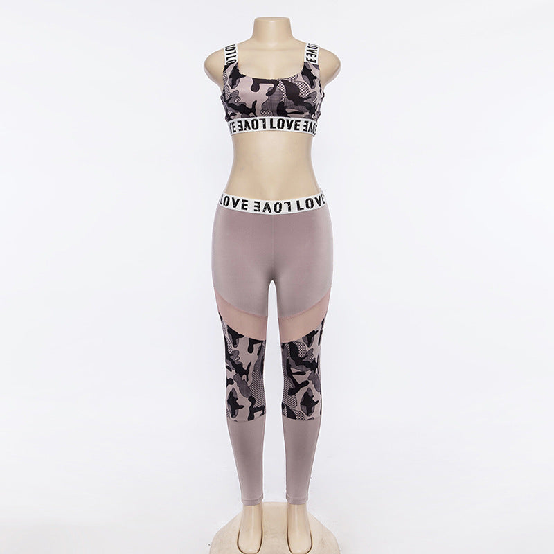 Letter Print Leopard Crop Top Long Leggings Women Two Pieces Sports Set