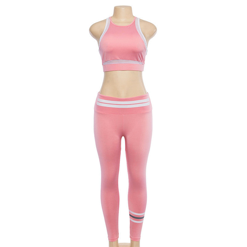 Crop Top with High Waist 9/10 Leggings Women Pink Two Pieces Yoga Sports Set