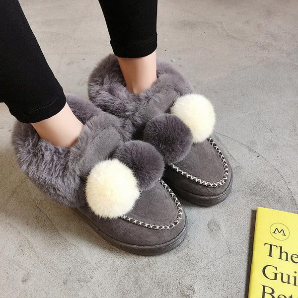 Fur Snow Low Heel Ankle  Boots