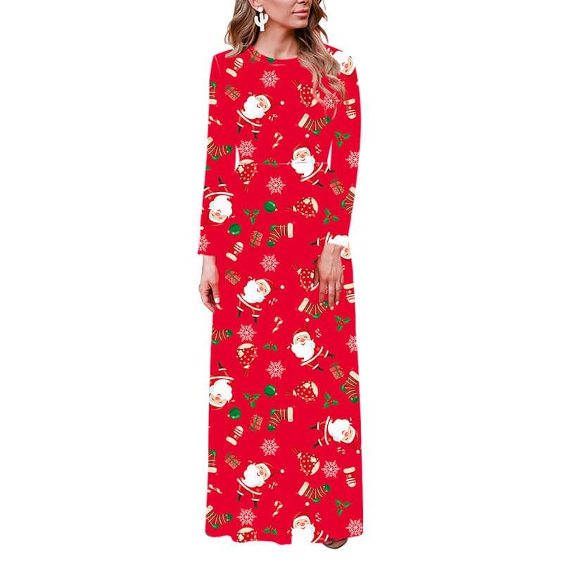 Christmas Long Sleeve Floral Print Maxi Dress