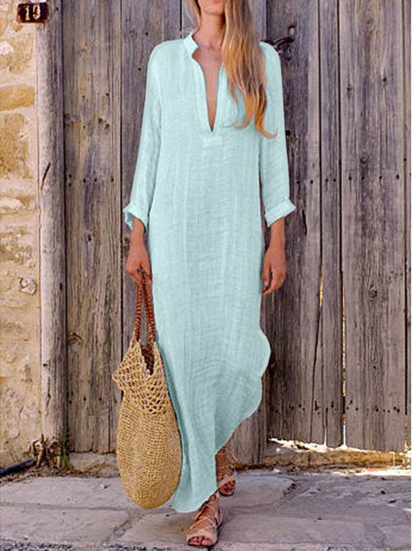 Loose V-neck Solid Color Women Long Split Loose Dress