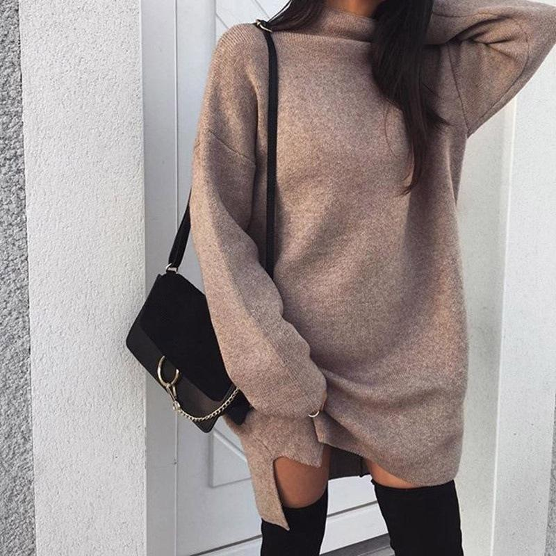 High Neck Solid Color Split Long Loose Women Pullover Sweater