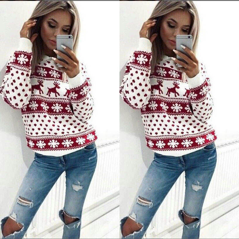 Deer Snow Print Women Colorful Knitwear Pullover Christmas Sweater