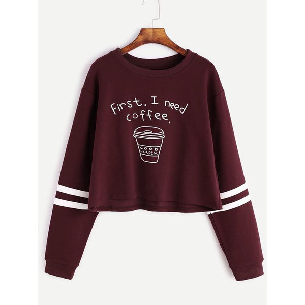 Letter and Coffee Cup Print Women Short Cropped Sweatshirt