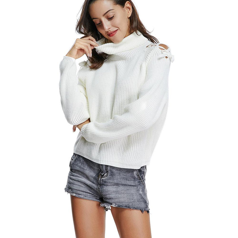 High Neck Bare Shoulder Long Loose Sleeves Women White Cropped Sweater