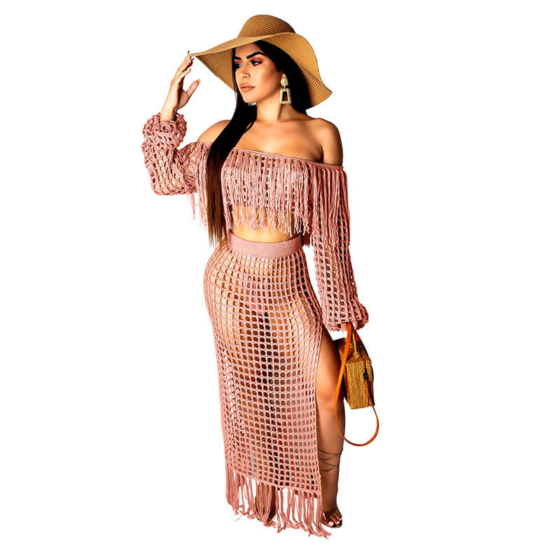 Off Shoulder Crop Top Perspective MAXI Skirt Set