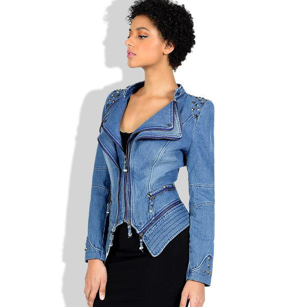 Rives Lapel Zipper Decorate Women Slim Irregular Short Denim Jacket