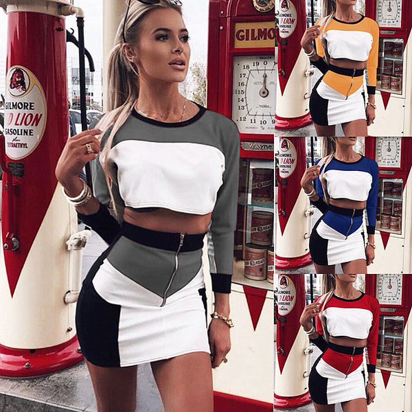 Color Block Patchwork Crop Top with Short Zipper Skirts Women Two Pieces Dress Set