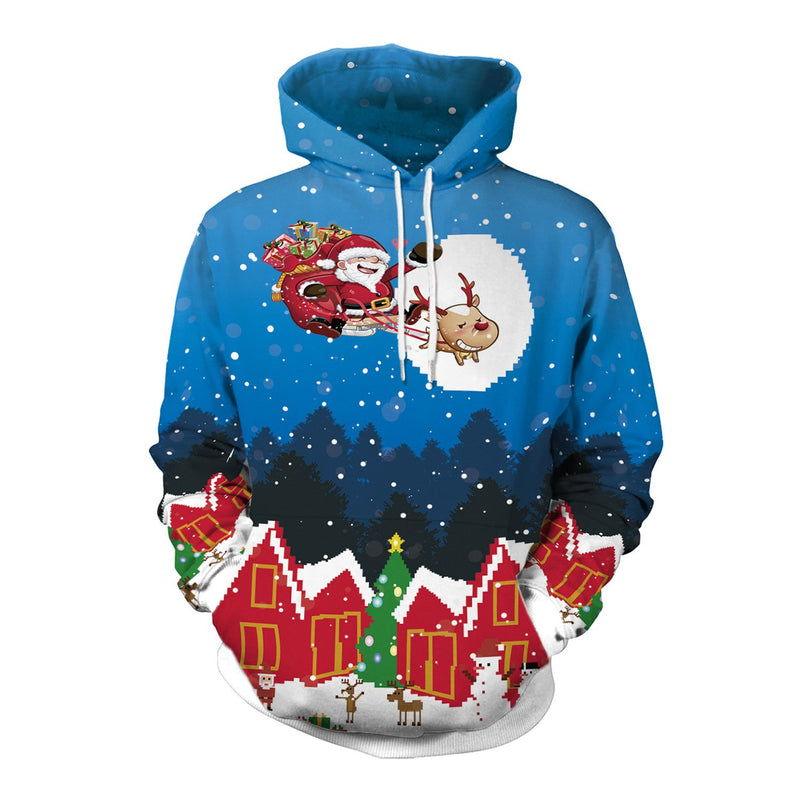 Drawstring Hooded Women Christmas Santa Claus Digital Print Party Hoodie