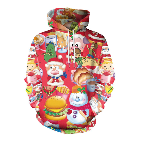 Snowman Cartoon Print Women Colorful Christmas Party Hoodie
